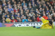 Thibaut Courtois (goalkeeper) of Chelsea makes a save during the Premier League match between Chelsea and Stoke City at Stamford Bridge, London, England on 30 December 2017. Photo by Toyin Oshodi.