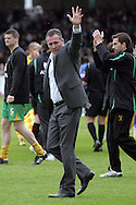 Bristol - Saturday May 1st, 2010: Norwich City manager Paul Lambert waves at his supporters after the Coca Cola League One match at The Memorial Stadium, Bristol. (Pic by Mark Chapman/Focus Images)..