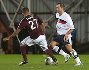 Dundee's Gary Harkins  and Hearts' Callum Tapping  - Hearts v Dundee in the Clydesdale Bank, Scottish Premier League at Tynecastle.. - © David Young - www.davidyoungphoto.co.uk - email: davidyoungphoto@gmail.com