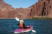 Paddling in Topock Gorge, on the Colorado River with California to the west and Arizona to the east.
