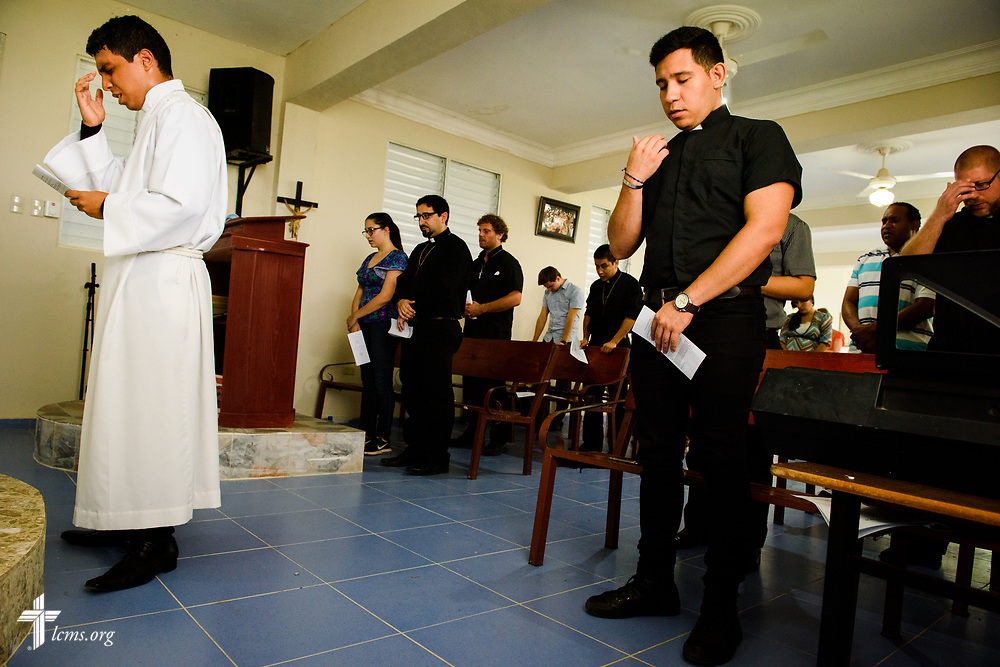 Seminarian Isaac Michado leads chapel at the Concordia Reformer Lutheran Seminary and Mercy Center in Palmar Arriba, Dominican Republic, on Wednesday, Oct. 18, 2017. LCMS Communications/Erik M. Lunsford