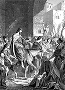 Christ riding into Jerusalem on an ass. 'Hosanna; blessed is the King of Israel that cometh in the name of the Lord'. 'Bible' New Testament: John XII. Wood engraving c1860