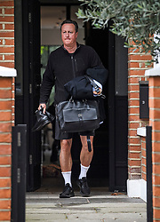 © Licensed to London News Pictures. 16/09/2019. London, UK. Former British Prime Minister DAVID CAMERON is seen leaving his London home. Cameron has made a series of attacks on the current British Prime Minister, Boris Johnson and the Vote Leave campaign, in a book which is due to be released.  Photo credit: Ben Cawthra/LNP