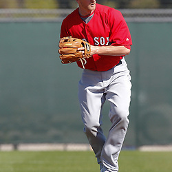 February 19, 2011; Fort Myers, FL, USA; Boston Red Sox second baseman Drew Sutton during spring training at the Player Development Complex.  Mandatory Credit: Derick E. Hingle