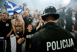 Fans of Partizan celebrate after the final match of Basketball NLB League at Final four tournament between KK Union Olimpija (SLO) and Partizan Belgrade (SRB), on April 21, 2011 in Arena Stozice, Ljubljana, Slovenia. Partizan defeated Union Olimpija 77-74 and became NLB league Champion 2011.  (Photo By Vid Ponikvar / Sportida.com)