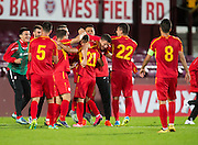 Joy for FYR Macedonia at full time -  Scotland Under-21 v FYR Macedonia,  UEFA Under 21 championship qualifier  at Tynecastle, Edinburgh. Photo: David Young<br /> <br />  - © David Young - www.davidyoungphoto.co.uk - email: davidyoungphoto@gmail.com