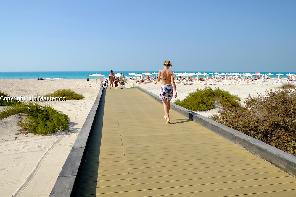 Public beach on Saadiyat Island in Abu Dhabi United Arab Emirates.