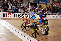 21 January 2007:  Women's cyclist Sarah Hammer (USA) leads the pack and wins first place during the Women's scratch race at the UCI Track Cycling World Cup Classics @ the Home Depot Center, Carson CA.  Sarah Hammer celebrates first and second place for the USA with teammate Rebecca Quinn.