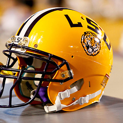 November 17, 2012; Baton Rouge, LA, USA  A detail of a LSU Tigers helmet during a game against the Ole Miss Rebels at Tiger Stadium. LSU defeated Ole Miss 41-35. Mandatory Credit: Derick E. Hingle-US PRESSWIRE
