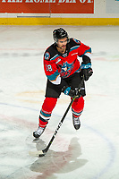 KELOWNA, BC - NOVEMBER 26: Jadon Joseph #18 of the Kelowna Rockets warms up with the puck for his first game with the Rockets against the Edmonton Oil Kings at Prospera Place on November 26, 2019 in Kelowna, Canada. (Photo by Marissa Baecker/Shoot the Breeze)