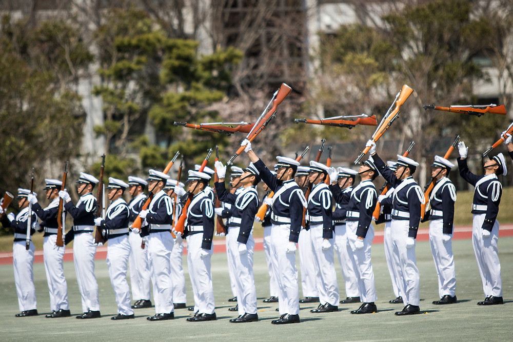 YOKOSUKA, JAPAN - APRIL 5 : Japanese cadets perform a gun drill during the entrance ceremony of new students at National Defense Academy in Yokosuka, south of Tokyo, Japan, April 5, 2017. This year, 468 new cadets enter the academy. (Photo by Richard Atrero de Guzman/NUR Photo)