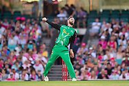 Melbourne Stars player Glenn Maxwell bowls the ball at the Big Bash League cricket match between Sydney Sixers and Melbourne Stars at The Sydney Cricket Ground in Sydney, Australia