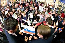 Zlatan Ljubijankic, Zlatko Dedic and Robert Koren of Slovenian National Football team with fans at presentation of  official Dirk  Bikkembergs fashion collection, on May 20, 2010 in Ciytpark, BTC, Ljubljana, Slovenia. (Photo by Vid Ponikvar / Sportida)
