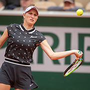 PARIS, FRANCE June 07.  Marketa Vondrousova of the Czech Republic in action against Johanna Konta of Great Britain on Court Simonne-Mathieu during the Women's Singles Semifinals match at the 2019 French Open Tennis Tournament at Roland Garros on June 7th 2019 in Paris, France. (Photo by Tim Clayton/Corbis via Getty Images)
