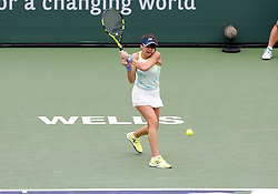 March 10, 2018 - Indian Wells, CA, U.S. - INDIAN WELLS, CA - MARCH 10: Sorana Cirstea ( ROU ) hits a backhand during the second round of the BNP Paribas Open on March 10, 2018, at the Indian Wells Tennis Gardens in Indian Wells, CA. (Photo by Adam  Davis/Icon Sportswire) (Credit Image: © Adam Davis/Icon SMI via ZUMA Press)