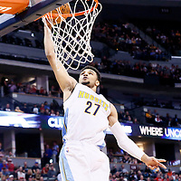22 November 2016: Denver Nuggets guard Jamal Murray (27) goes for the dunk  during the Denver Nuggets 110-107 victory over the Chicago Bulls, at the Pepsi Center, Denver, Colorado, USA.
