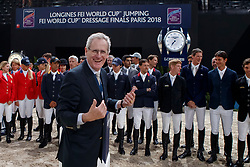 ROCHE John P. (FEI Jumping Director)<br /> Paris - FEI World Cup Finals 2018<br /> Longines FEI World Cup Jumping Final I<br /> www.sportfotos-lafrentz.de/Stefan Lafrentz<br /> 12. April 2018