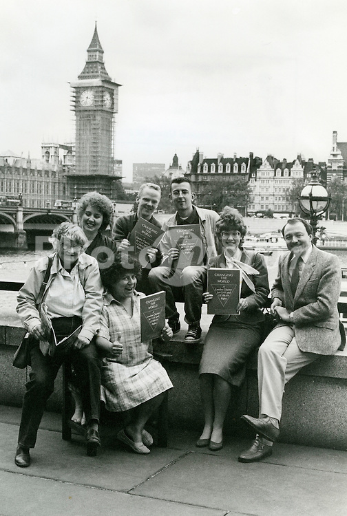 Launch of 'Changing the World' GLC lesbian and gay charter; County Hall London; October 1985 L toR  Rosemary Manning;Jenni Fletcher;Miriam Margolyes; Jimmy Somerville; Richard Cole;Valerie Wise; Ken Livingstone,