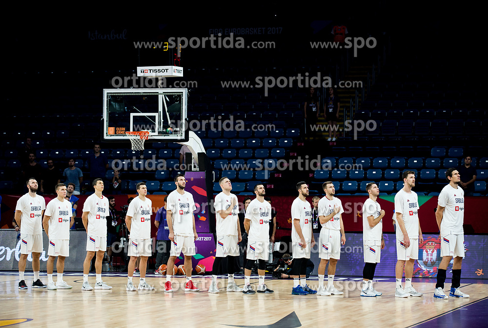 Players of Serbia listening to the National anthem during basketball match between National Teams of Serbia and Hungary at Day 11 in Round of 16 of the FIBA EuroBasket 2017 at Sinan Erdem Dome in Istanbul, Turkey on September 10, 2017. Photo by Vid Ponikvar / Sportida