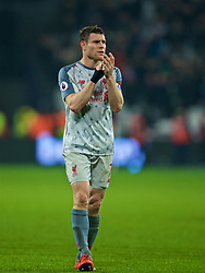 LONDON, ENGLAND - Monday, February 4, 2019: Liverpool's captain James Milner applauds the supporters after the FA Premier League match between West Ham United FC and Liverpool FC at the London Stadium. (Pic by David Rawcliffe/Propaganda)