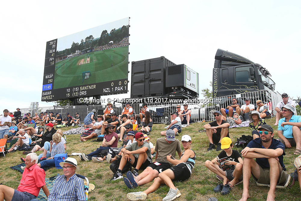 Fans in front of the Monstavision sign truck during the Second One-Day game between Black Caps v Pakistan, Saxton Oval, Nelson, Tuesday 9th Janurary 2018. Copyright Photo: Evan Barnes/ © www.Photosport.nz 2018