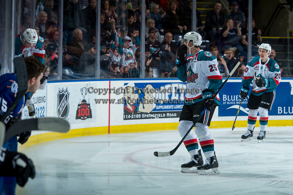 KELOWNA, CANADA - FEBRUARY 12: Kole Lind #16 of the Kelowna Rockets celebrates a goal with fans at the glass against the Victoria Royals  on February 12, 2018 at Prospera Place in Kelowna, British Columbia, Canada.  (Photo by Marissa Baecker/Shoot the Breeze)  *** Local Caption ***