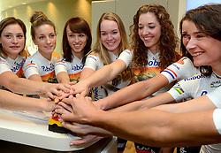 13-01-2014 WIELRENNEN: PRESENTATIE RABOBANK LIV DAMESTEAM 2014: UTRECHT<br /> In het hoofdkantoor van Rabobank Nederland werd het Rabo damesteam gepresenteerd / <br /> ©2014-FotoHoogendoorn.nl