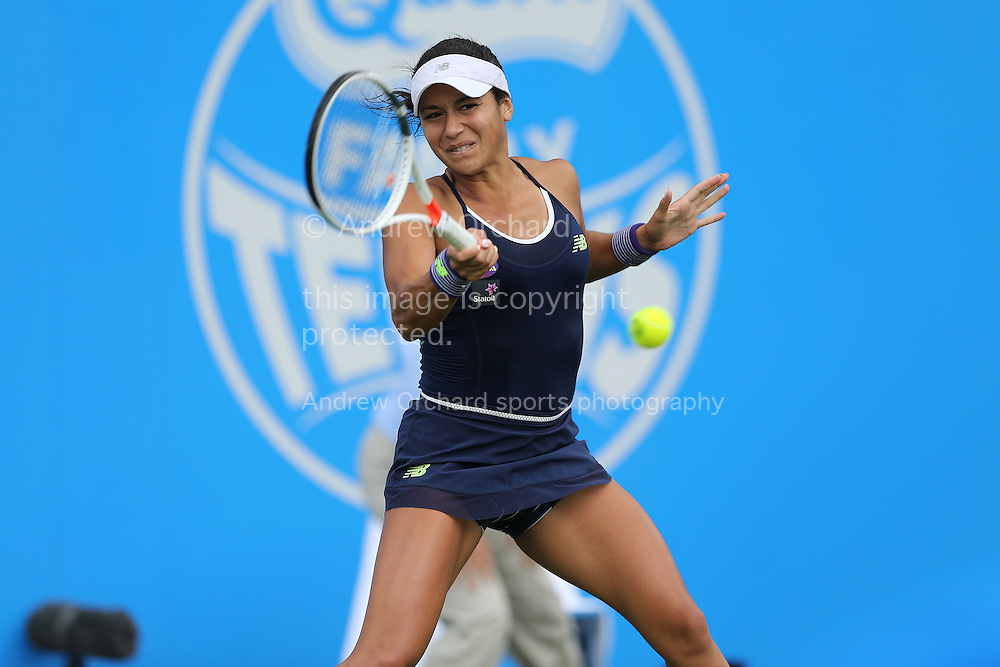 Heather Watson (GBR) plays a shot in her match against Camila Giorgi (ITA). The Aegon Classic, international Womens tennis at the Priory Club in Edgbaston, Birmingham  on Monday 13th June 2016.<br /> pic by John Patrick Fletcher, Andrew Orchard sports photography.