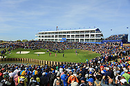 General view 16th green during the Saturday Fourballs at the Ryder Cup, Le Golf National, Paris, France. 29/09/2018.<br /> Picture Phil Inglis / Golffile.ie<br /> <br /> All photo usage must carry mandatory copyright credit (© Golffile | Phil Inglis)