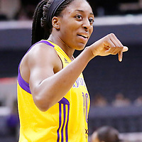 22 June 2014: forward Nneka Ogwumike (30) of the Los Angeles Sparks talks to center Jantel Lavender (42) of the Los Angeles Sparks during the San Antonio Stars 72-69 victory over the Los Angeles Sparks, at the Staples Center, Los Angeles, California, USA.