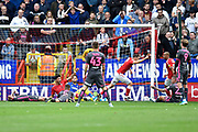 Goal - Tom Lockyer (5) of Charlton Athletic runs to celebrates the goal scored by Macauley Bonne (17) of Charlton Athletic to give a 1-0 lead to the home team during the EFL Sky Bet Championship match between Charlton Athletic and Leeds United at The Valley, London, England on 28 September 2019.