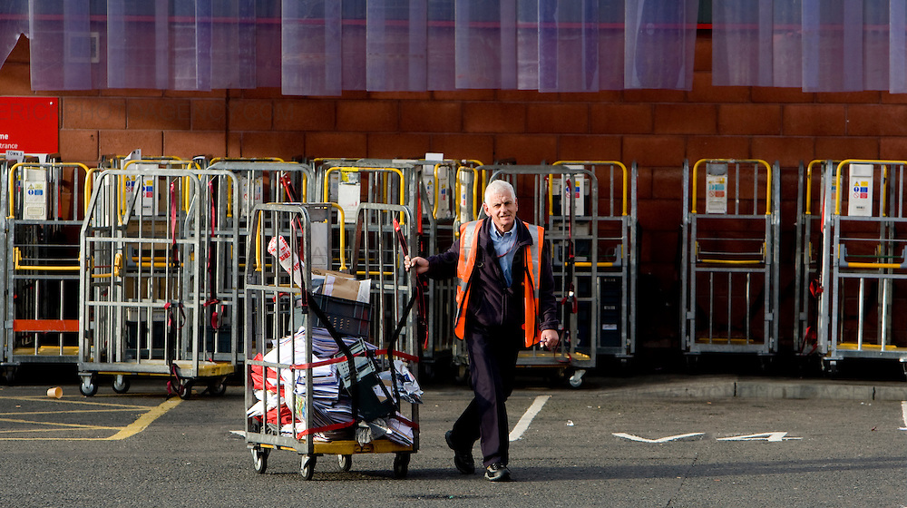 Royal Mail postal staff at an Edinburgh sorting office load van with the last delivery of the mail on the first day of a 48 hour nationwide postal strike called by the Communication Workers Union ...Picture Michael Hughes/Maverick......