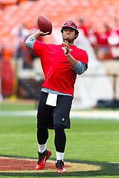 Oct 9, 2011; San Francisco, CA, USA; Tampa Bay Buccaneers quarterback Josh Freeman (5) warms up before the game against the San Francisco 49ers at Candlestick Park. San Francisco defeated Tampa Bay 48-3. Mandatory Credit: Jason O. Watson-US PRESSWIRE