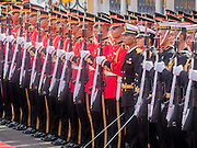 23 JULY 2015 - BANGKOK, THAILAND: Thai soldiers lined up to greet the Vietnamese and Thai Prime Ministers at Government House in Bangkok. The Vietnamese Prime Minister and his wife came to Bangkok for the 3rd Thailand - Vietnam Joint Cabinet Retreat. The Thai and Vietnamese Prime Minister discussed issues of mutual interest.      PHOTO BY JACK KURTZ