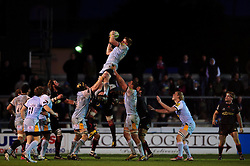 Northampton wins a lineout during the second half of the match - Photo mandatory by-line: Rogan Thomson/JMP - Tel: Mobile: 07966 386802 18/11/2012 - SPORT - RUGBY - Rodney Parade - Newport. Newport Gwent Dragons v Northampton Saints - LV= Cup Round 2
