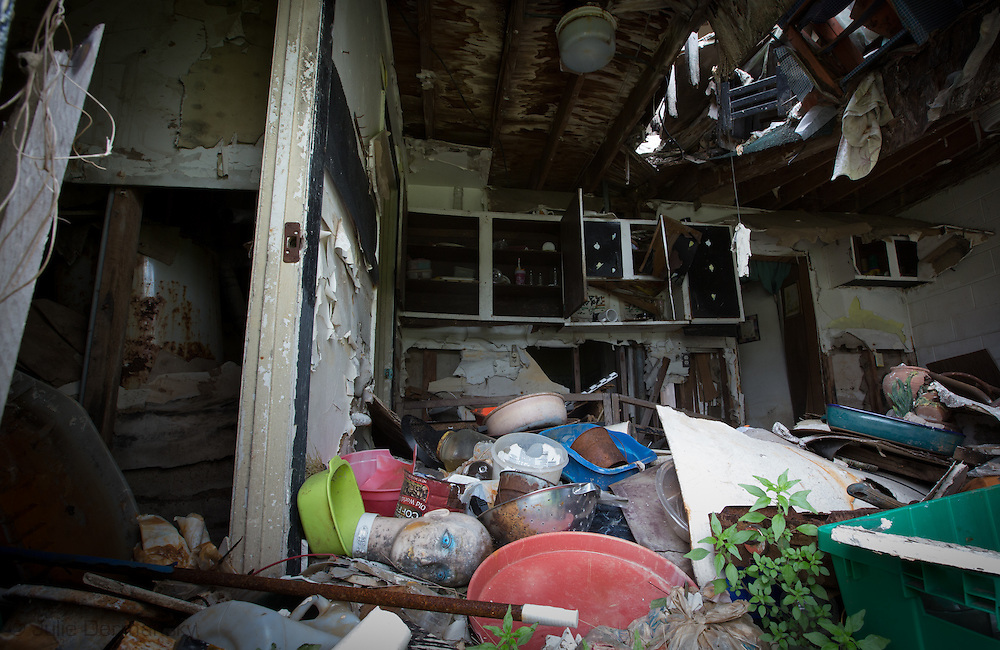 Interior of a blighted townhouse in Press Park, nice years after Hurricane Katirna. 30 Percent of Press Park, A housing complex destroyed by Hurricane Katrina in New Orleans that was partially demolished in the spring of 2014 remains standing. <br /> Press Park was build on top of the Agricultural land fill and the site was later declared a superfund site.  The city and state will not redevelop the land in this are of New Orleans upper ninth ward.