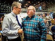 "07 APRIL 2019 - DES MOINES, IOWA:  Rep TIM RYAN (D-OH) meets Iowa Democrats during his first campaign event in Des Moines. Ryan declared his candidacy on the US television show ""The View"" on April 4. Ryan, 45 years old, represents Ohio's 13th District, which includes Lordstown, where a large General Motors plant recently closed. He is the latest Democrat to announce his candidacy to be the Democratic nominee in the 2020 election. Iowa holds its presidential caucuses on Feb. 3, 2020.  PHOTO BY JACK KURTZ"