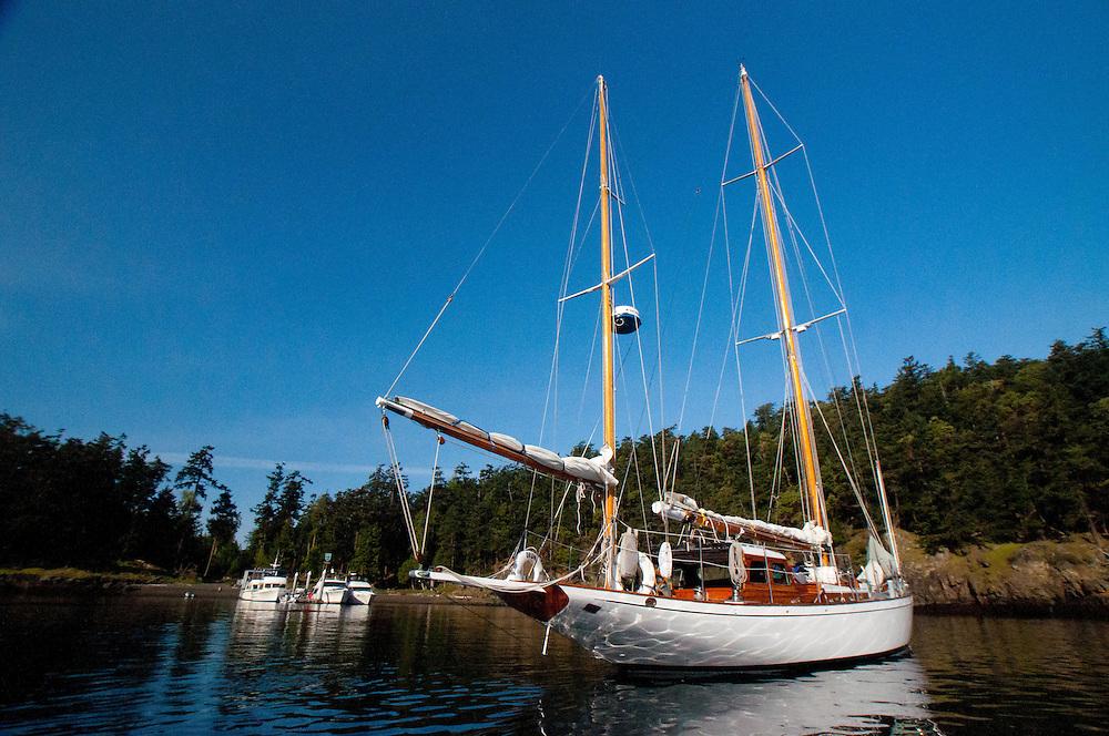 Aboard Orion at Jones Island State Park, San Juan Islands, Washington, US