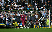Photo: Andrew Unwin.<br /> Newcastle United v Bolton Wanderers. The Barclays Premiership. 15/10/2006.<br /> Newcastle's Shola Ameobi (R) scores his team's first goal.