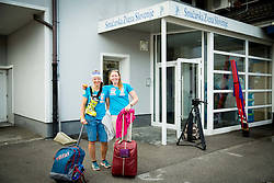 Katarina Lavtar and Marusa Ferk at departure of Slovenian Women Ski Team to training camp in Argentina on August 5, 2014 in SZS, Ljubljana, Slovenia. Photo by Vid Ponikvar / Sportida.com
