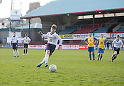 Josh Mulligan scores from the penalty spot for Grove Academy against Morgan Academy (yellow) in the Under 14s Urquhart Trophy Cup Final at Dens Park<br /> <br /> <br />  - &copy; David Young - www.davidyoungphoto.co.uk - email: davidyoungphoto@gmail.com