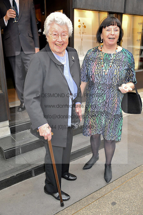 Left to right, LOIS SIEFF and MARGO SNOWMAN at a private view of  'A Diamond Jubilee Tribute - Faberge From A Private Colection' in aid of the charity Samaritans, held at Wartski, 14 Grafton Street, London on 14th May 2012.