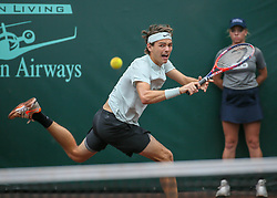 April 13, 2018 - Houston, TX, U.S. - HOUSTON, TX - APRIL 13:  Taylor Fritz of the United States hits the return in the match against Jack Sock of the United States during the Quarterfinal round of the Men's Clay Court Championship on April 13, 2018 at River Oaks Country Club in Houston, Texas.  (Photo by Leslie Plaza Johnson/Icon Sportswire) (Credit Image: © Leslie Plaza Johnson/Icon SMI via ZUMA Press)