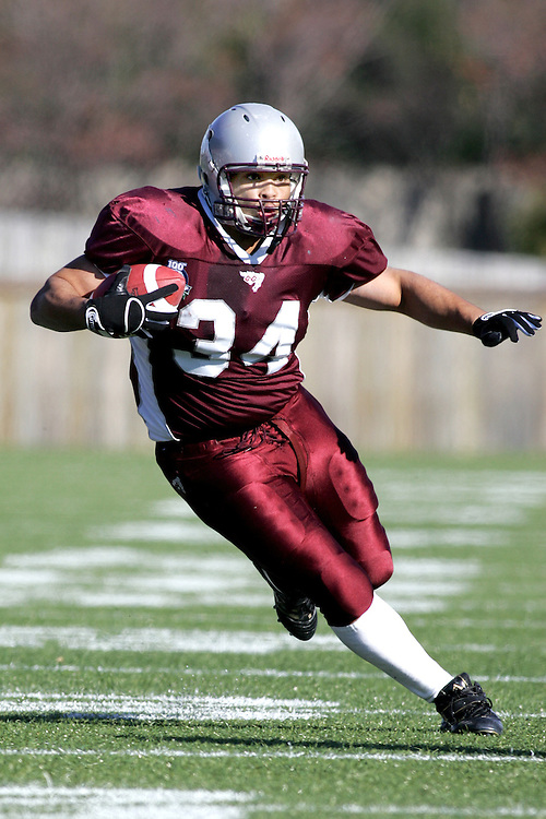 (3 November 2007 -- Ottawa) The University of Ottawa Gee Gees lost to the University of Western Ontario Mustangs 16-23 in OUA football semi-final action in Ottawa. The University of Ottawa Gee Gee player pictured in action is davie mason