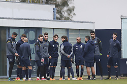 "February 14, 2018 - Na - Vila Nova de Gaia, 02/13/2018 - Futebol Clube do Porto trained this morning at the Porto / Gaia do Olival Training Center to prepare for the Champions League game against Liverpool. Vána; Iker Casillas; José Sá; Gonçalo Patience; Ã""liver Torres; Brahimi; Sérgio Conceição; Fabiano; Marcano  (Credit Image: © Atlantico Press via ZUMA Wire)"