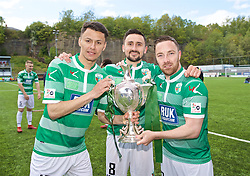 RHOSYMEDRE, WALES - Sunday, May 5, 2019: The New Saints Dean Ebbe (L), Ryan Brobbel (C) and Jon Routledge celebrate with the trophy after the FAW JD Welsh Cup Final between Connah's Quay Nomads and The New Saints at The Rock. The New Saints won 3-0. (Pic by David Rawcliffe/Propaganda)