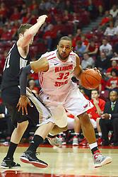 08 December 2012:  Jackie Carmichael cuts the baseline passing Shayne Whittington during an NCAA mens basketball game between the Western Michigan Broncos and the Illinois State Redbirds (Missouri Valley Conference) in Redbird Arena, Normal IL