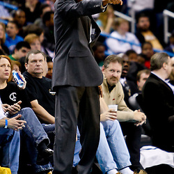 December 26, 2010; New Orleans, LA, USA; Atlanta Hawks head coach Larry Drew during the second quarter against the New Orleans Hornets at the New Orleans Arena.  Mandatory Credit: Derick E. Hingle
