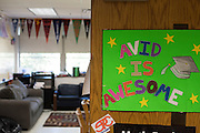 A sign hangs on Coach Krystal Morrows door at Bryan Adams High School on March 24, 2016 in Dallas, Texas. (Cooper Neill for The Texas Tribune)