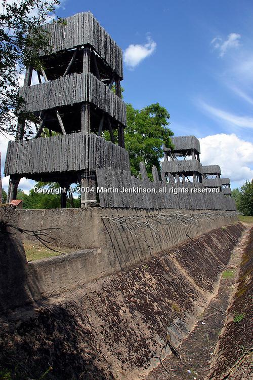 Reconstuction of Julius Caesar's fortifications of Alesia at L'Archeodrome de Bourgogne.